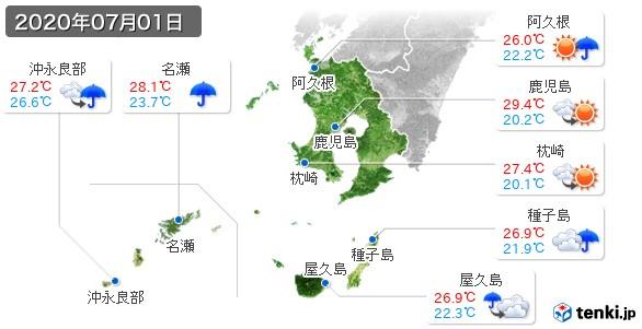 鹿児島県(2020年07月01日の天気