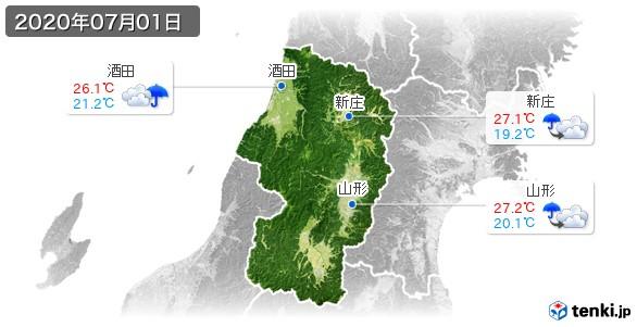 山形県(2020年07月01日の天気