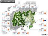 2020年07月02日の関東・甲信地方の実況天気