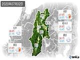 2020年07月02日の長野県の実況天気