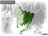 2020年07月02日の愛知県の実況天気