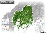 2020年07月02日の広島県の実況天気
