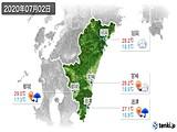 2020年07月02日の宮崎県の実況天気