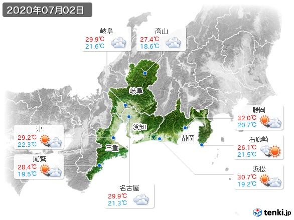 東海地方(2020年07月02日の天気