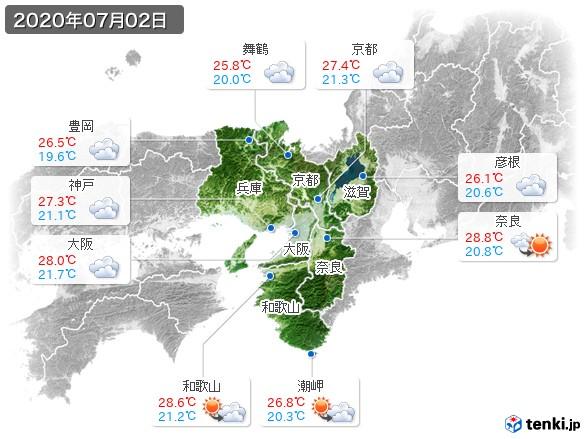 近畿地方(2020年07月02日の天気