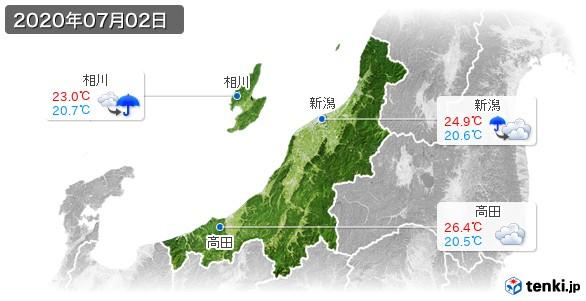 新潟県(2020年07月02日の天気