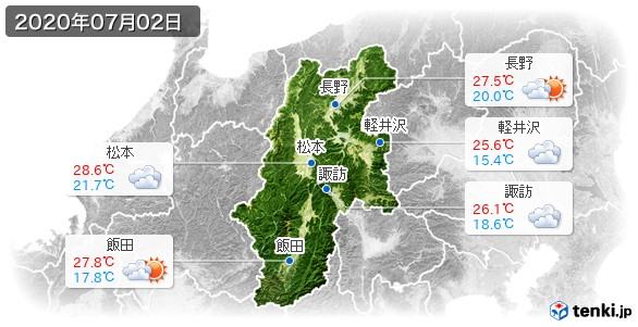 長野県(2020年07月02日の天気