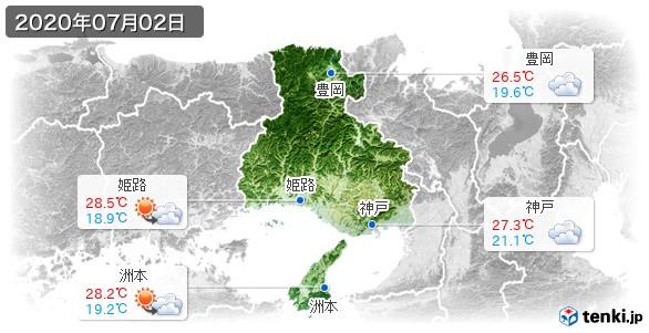 兵庫県(2020年07月02日の天気