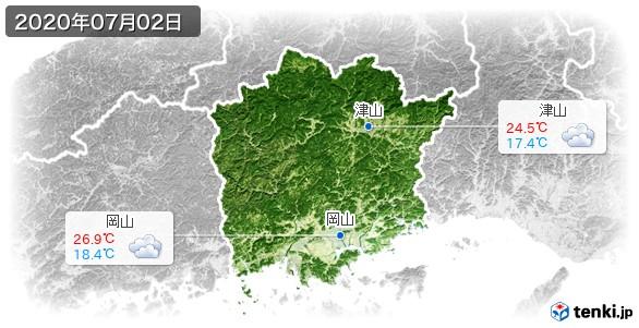 岡山県(2020年07月02日の天気