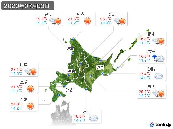 北海道地方(2020年07月03日の天気
