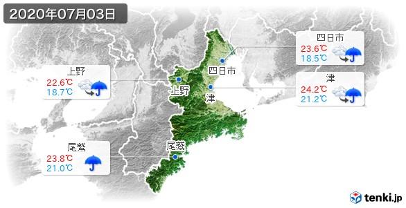 三重県(2020年07月03日の天気