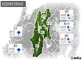 2020年07月04日の長野県の実況天気