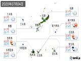2020年07月04日の沖縄県の実況天気