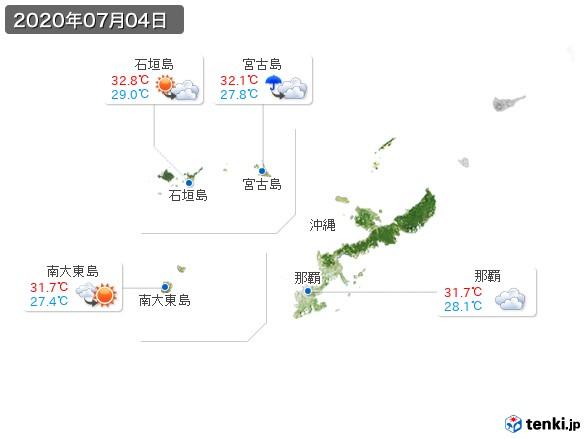 沖縄地方(2020年07月04日の天気