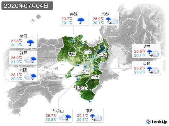 近畿地方(2020年07月04日の天気