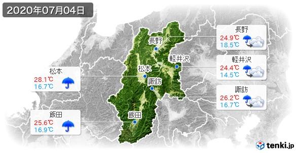 長野県(2020年07月04日の天気