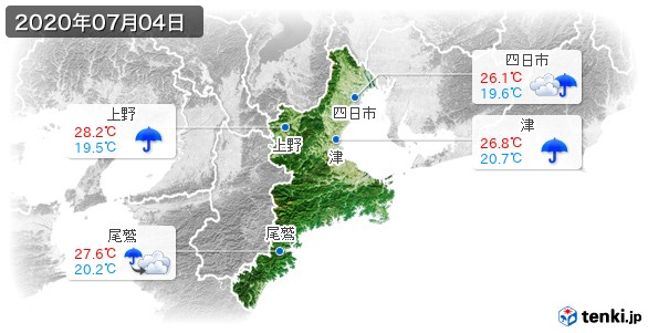 三重県(2020年07月04日の天気