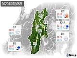 2020年07月05日の長野県の実況天気
