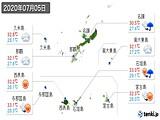2020年07月05日の沖縄県の実況天気