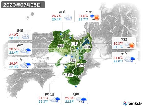 近畿地方(2020年07月05日の天気