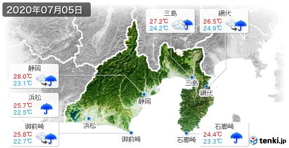 静岡県(2020年07月05日の天気