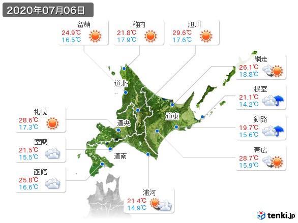 北海道地方(2020年07月06日の天気