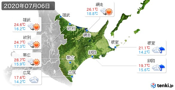 道東(2020年07月06日の天気