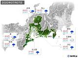 2020年07月07日の東海地方の実況天気
