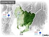 2020年07月07日の愛知県の実況天気
