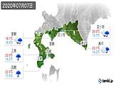 2020年07月07日の道南の実況天気
