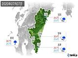 2020年07月07日の宮崎県の実況天気