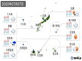 2020年07月07日の沖縄県の実況天気