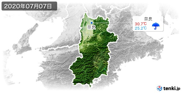奈良県(2020年07月07日の天気