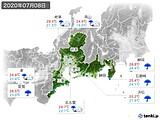 2020年07月08日の東海地方の実況天気