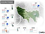 2020年07月08日の東京都の実況天気