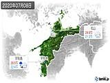 2020年07月08日の愛媛県の実況天気
