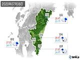 2020年07月08日の宮崎県の実況天気