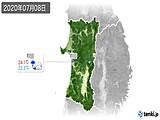 2020年07月08日の秋田県の実況天気