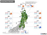2020年07月09日の東北地方の実況天気