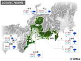 2020年07月09日の東海地方の実況天気