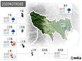 2020年07月09日の東京都の実況天気