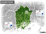 2020年07月09日の岡山県の実況天気