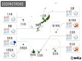2020年07月09日の沖縄県の実況天気