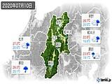 2020年07月10日の長野県の実況天気