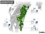 2020年07月10日の宮崎県の実況天気