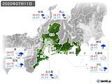 2020年07月11日の東海地方の実況天気
