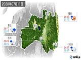 2020年07月11日の福島県の実況天気