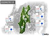 2020年07月11日の長野県の実況天気