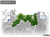 2020年07月11日の鳥取県の実況天気