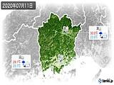 2020年07月11日の岡山県の実況天気